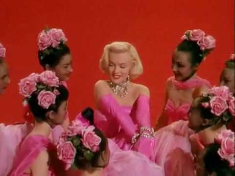 Marilyn Monroe in a famouse scene from Gentlemen Prefer Blondes